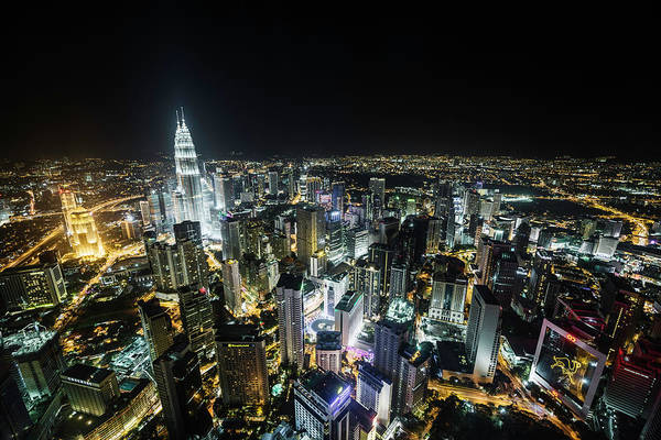 Photograph - Kualu Lumpur Skyline At Night, Elevated by Martin Puddy