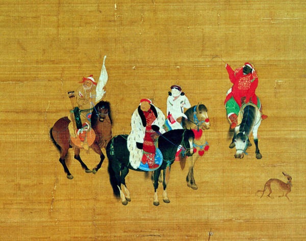 Archery Photograph - Kublai Khan 1214-94 Hunting, Yuan Dynasty Ink & Colour On Silk Detail by Liu Kuan-tao