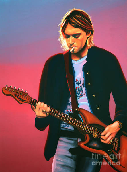 Grunge Music Wall Art - Painting - Kurt Cobain In Nirvana Painting by Paul Meijering