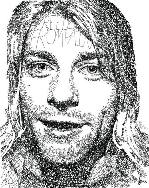 Dave Grohl Wall Art - Drawing - Kurt Cobain by Michael Volpicelli