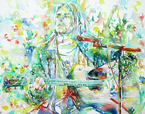 Nirvana Wall Art - Painting - Kurt Cobain Playing The Guitar - Watercolor Portrait by Fabrizio Cassetta