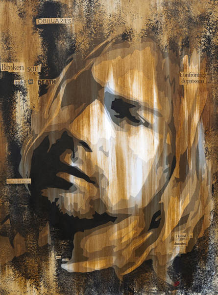 Wall Art - Painting - Kurt Cobain Tormented  by Brad Jensen