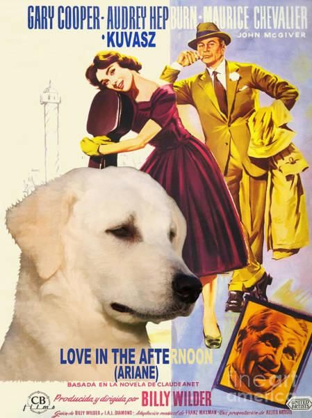 Love In The Afternoon Painting - Kuvasz Art Canvas Print - Love In The Afternoon Movie Poster by Sandra Sij