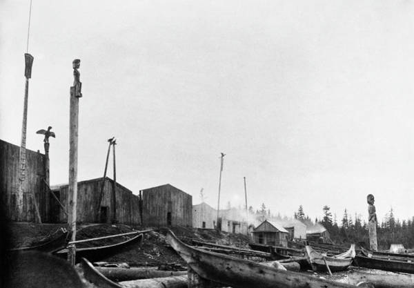 Port Of Vancouver Wall Art - Photograph - Kwakiutl Village, 1894 by Granger