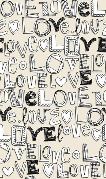 Hand Drawn Drawing - l o v e LOVE ivory white by MGL Meiklejohn Graphics Licensing