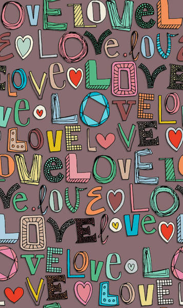 Hand Drawn Drawing - l o v e LOVE mocha by MGL Meiklejohn Graphics Licensing