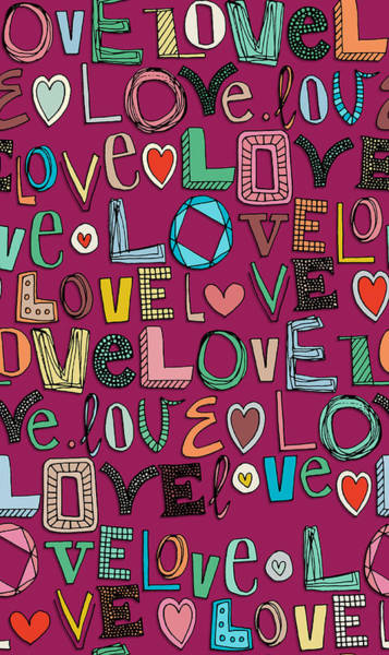 Hand Drawn Drawing - l o v e LOVE pink by MGL Meiklejohn Graphics Licensing