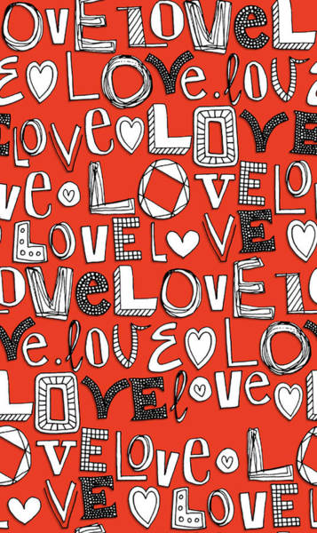 Hand Drawn Drawing - l o v e LOVE red white by MGL Meiklejohn Graphics Licensing