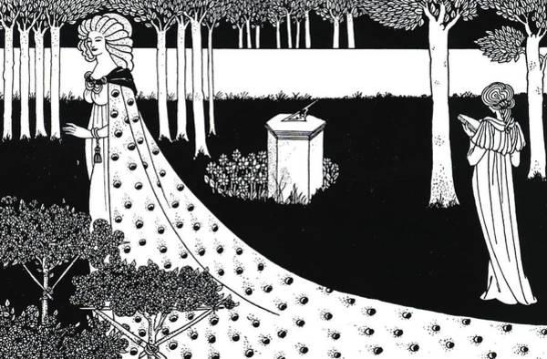 Garden Drawing - La Beale Isoud At Joyous Gard by Aubrey Beardsley