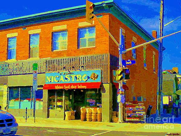 Painting - La Bottega Nicastro Ottawa Italian Grocer Bakery Cheese Shop Deli Corner Store Glebe Scenes Cspandau by Carole Spandau