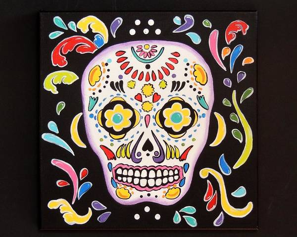 Wall Art - Painting - La Calavera by Candy Mayer