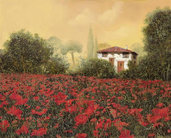Poppies Wall Art - Painting - La Casa E I Papaveri by Guido Borelli