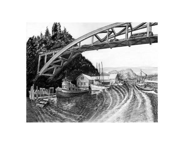 Wa Drawing - Rainbow Bridge La Connor Washington by Jack Pumphrey