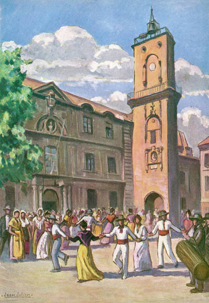 Traditional Dances Drawing - La Farandole The People by Mary Evans Picture Library