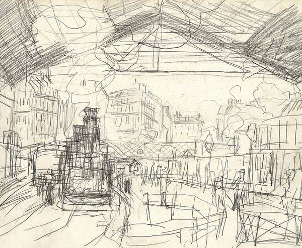Urban Drawing - La Gare Saint Lazare by Claude Monet