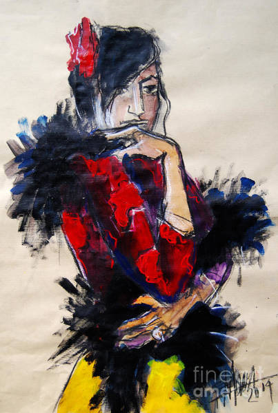 Wall Art - Painting - La Gitane - Pia #1 - Figure Series by Mona Edulesco