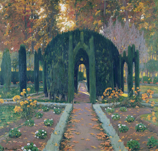 Prat Photograph - La Glorieta Aranjuez 1909 Oil On Canvas by Santiago Rusinol i Prats