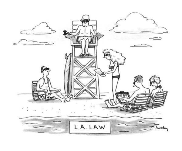 Cliche Drawing - L.a. Law by Mike Twohy
