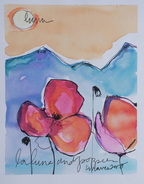 Painting - La Luna And Poppies by Laurie Maves ART