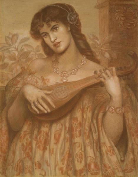Chestnut Hair Drawing - La Mandolinata by Dante Gabriel Rossetti