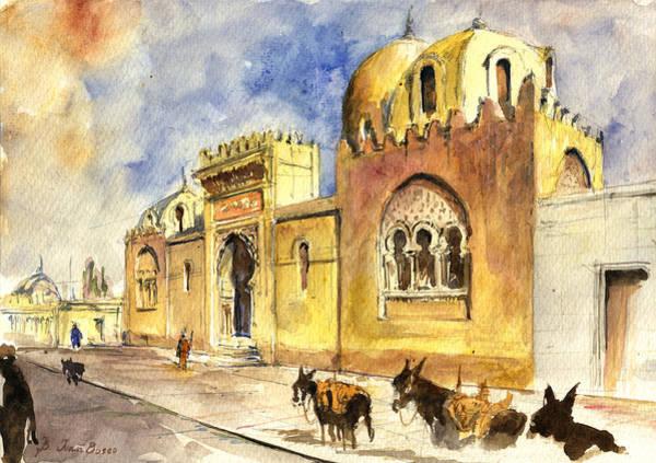 Mosque Painting - La Medersa School Casbah by Juan  Bosco