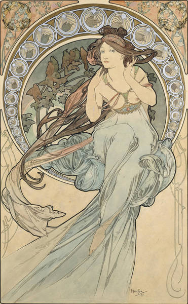 Musical Artists Photograph - La Musique, 1898 Watercolour On Card by Alphonse Marie Mucha