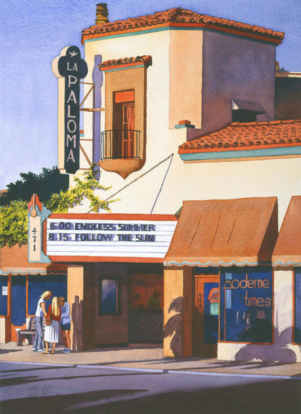 Theatres Wall Art - Painting - La Paloma Theater In Encinitas by Mary Helmreich