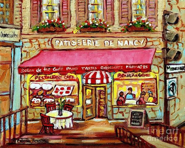 Wall Art - Painting - La Patisserie De Nancy French Pastry Boulangerie Paris Style Sidewalk Cafe Paintings Cityscene Art C by Carole Spandau