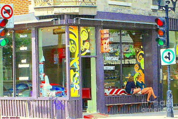 Painting - La Peche Glace Ice Cream Shop Two Girls Sit At Window Bench Mont Royal Cafe Scene Carole Spandau by Carole Spandau