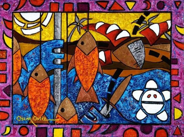 Painting - La Pesca Virgen De Un Hombre Honrado by Oscar Ortiz