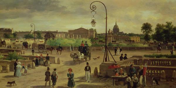 Carriages Painting - La Place De La Concorde by Giuseppe Canella