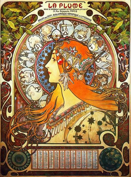 Painting - La Plume Zodiac by Alphonse Mucha