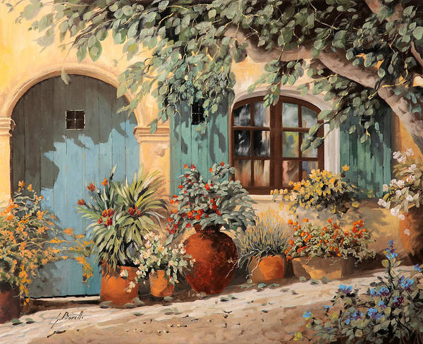 Blooming Wall Art - Painting - La Porta Azzurra by Guido Borelli