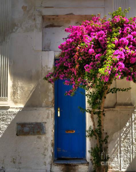 Mail Slot Photograph - La Puerta Azul - The Blue Door by Bridget Calip