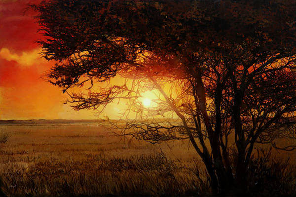 Jaguar Painting - La Savana Al Tramonto by Guido Borelli