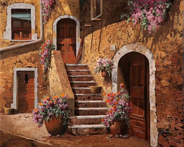 Vases Painting - La Scalinata In Cortile by Guido Borelli