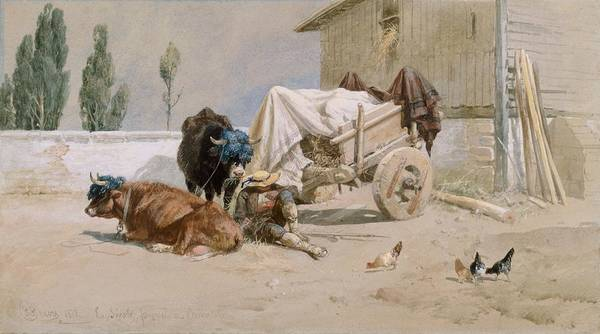 Cart Drawing - La Sieste by Richard Beavis