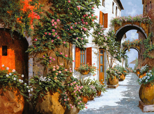 Village Painting - La Strada Al Sole by Guido Borelli