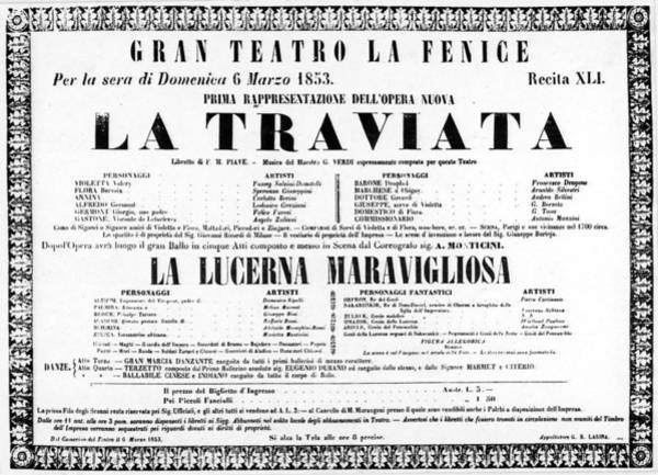 Painting - La Traviata Poster For The Premiere by Granger