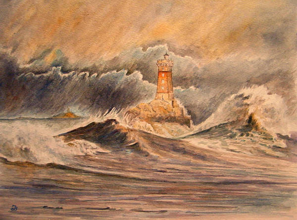 Storming Painting - La Vieille Lighthouse by Juan  Bosco