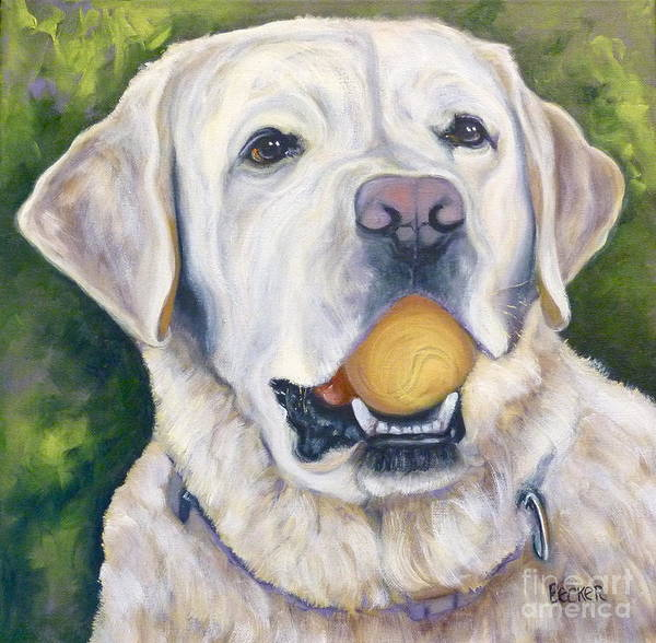 Wall Art - Painting - Lab With Orange Ball by Susan A Becker
