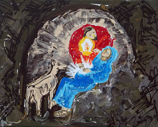 Painting - Labor In The Manger by Anne Cameron Cutri