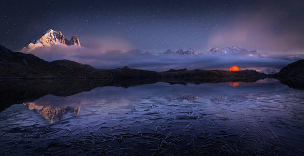 Mountain Range Photograph - Lac Des Cheserys by Martin Dodrv