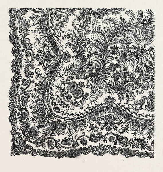 Scarf Drawing - Lace Scarf by L. Pagny, Bayeux, French, 19th Century
