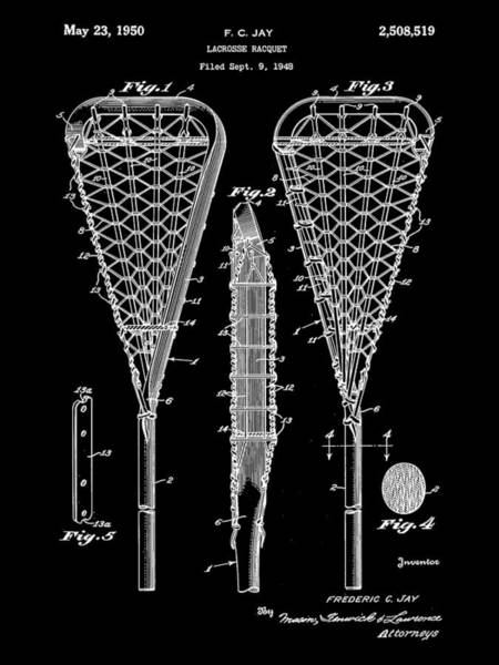 Lax Digital Art - Lacrosse Stick Patent 1948 - Black by Stephen Younts