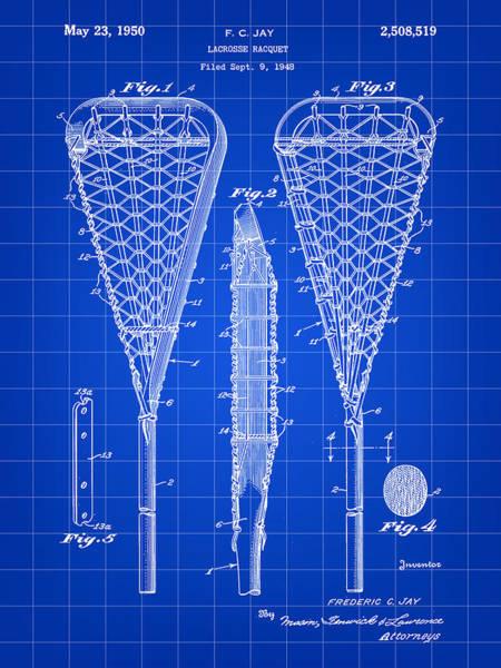 Lax Digital Art - Lacrosse Stick Patent 1948 - Blue by Stephen Younts