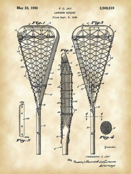 Lax Digital Art - Lacrosse Stick Patent 1948 - Vintage by Stephen Younts