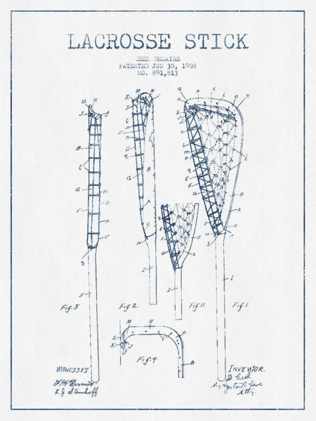 Stick Digital Art - Lacrosse Stick Patent From 1908 -  Blue Ink by Aged Pixel