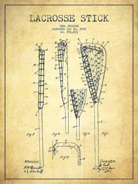 Wall Art - Digital Art - Lacrosse Stick Patent From 1908 - Vintage by Aged Pixel