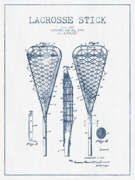 Stick Digital Art - Lacrosse Stick Patent From 1950  -  Blue Ink by Aged Pixel